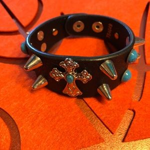 Jewelry - Black leather Turquoise Cross Bracelet
